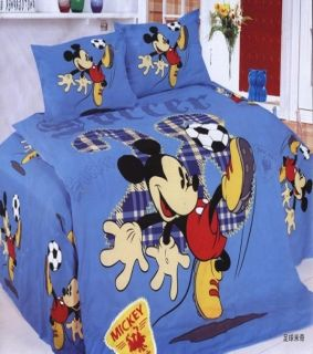 Disney Mickey Mouse Football soccer cover Sheet pillow case for single