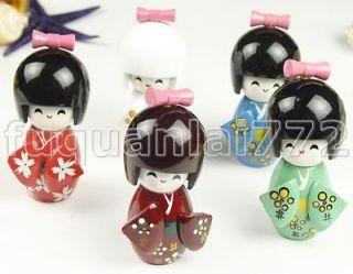 Lot 5 pcs wooden JAPANESE GIRL DOLLS new