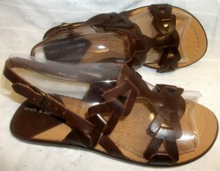 CROFT & BARROW Brown Leather Flats Sandals Women Size 6½
