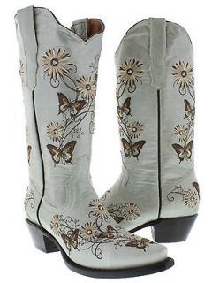 Womens cowboy boots ladies leather embroider butterfly flower
