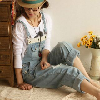 Retro Casual Frayed Denim Overall Jeans Jumpsuits Rompers Strap Jeans
