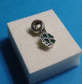 Pandora Sterling Silver Green Four Leaf Clover Dangle 790572EN25 *NEW