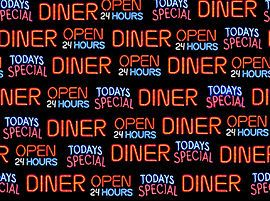 BY THE 1/2 YD~TODAYS SPECIAL~50S FIFTIES DINER OPEN 24 HRS WORDS~QT