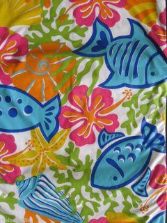 TROPICAL FISH Sea Shells VINYL Umbrella Tablecloth NIP ...
