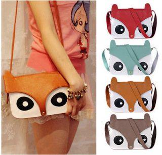 Shoulder Bag Messenger Retro School Tote Owl Fox PU Purse Womens