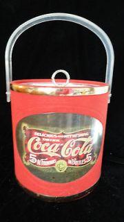 VINTAGE COLLECTIBLE COCA COLA ICE BUCKET, LUCITE OR PLASTIC HANDLE