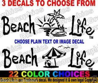 BEACH LIFE SALT DECAL STICKER PALM SUNSET OCEAN 3 SIZES