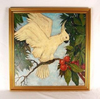 Tropical Art Deco Oil Painting Cockatiel Bird on Branch sgnd Sam Smith