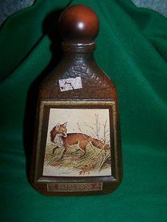 Vintage Jim Beam Decanter James Lockhart Red Rox Leather Look Empty