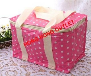 Lunch Box Thermal Insulated Cooler Bag Hot/Cold Pink Color Dot L14c