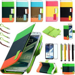 Wallet Stand Case Cover for Samsung Galaxy Note II 2 Stylus Film