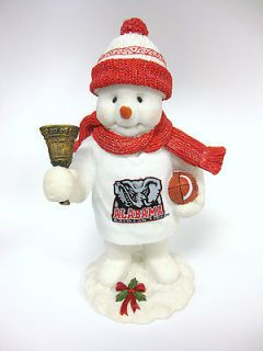 Alabama Crimson Tide Football Snowman Figurine Bama Scarf Bell Glitter