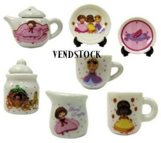STRAWBERRY SHORTCAKE MINI CERAMIC TEA SET COLLECTION 7 CUPS PLATES