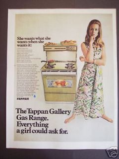 1968 TAPPAN Gas Range Kitchen STOVE Retro Decor Ad