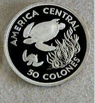 1974 SILVER COSTA RICA 50 & 100 COLONES SEA TURTLES & MANATEE 2 PROOF