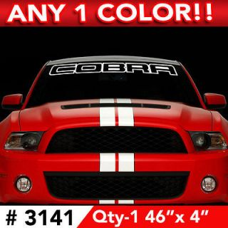 COBRA OUTLINE WINDSHIELD DECAL STICKER 46w x 4h Any 1 Color #3141