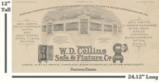 AMAZING 1917 COLLINS BANK FIXTURES, SAFE, VAULT COMPANY ADVERTISTING