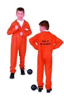ORANGE CHILD PRISONER CONVICT BOY COSTUMES JAILBIRD KIDS JUMPSUIT