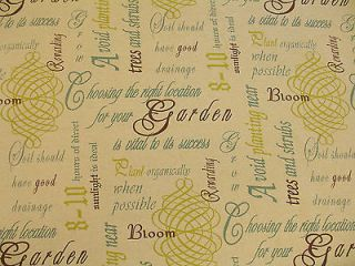 Garden Script wrighting Numbers Print Upholstery Fabric