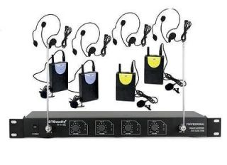 Channel VHF Wireless Microphone System With Lapel Headset Mics