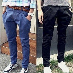New Korean Style Mens Casual Slim Fit Pants Trousers Elastic Harem