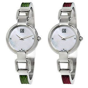 ESQ SWISS Womens Nola Mother Of Pearl Watch  Red or Green