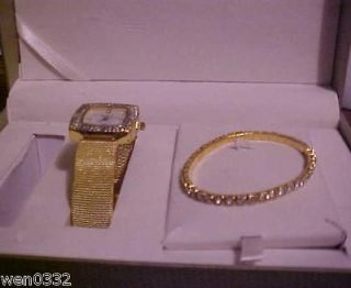 Cote d Azur Goldtone Watch Tennis Bracelet Pendant Set NEW