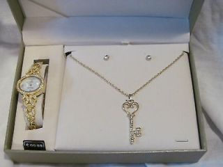 Watch Key Necklace & Earring Set by Cote D Azur NEW IN Box