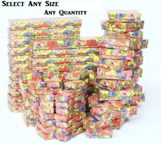 LOTS 20 50 100 Pcs COTTON FILLED BOX FLORAL GIFT BOX NECKLACE BOX