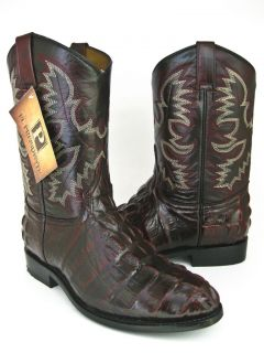 MENS BLACK CHERRY LEATHER CROCODILE ALLIGATOR TAIL ROPER COWBOY BOOTS
