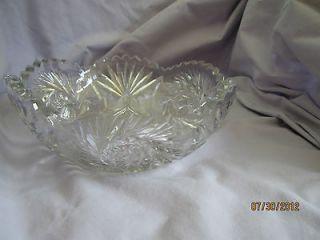 ANTIQUE CUT GLASS DECORATIVE BOWL CRYSTAL STAR & FLOWER DESIGN EAPG