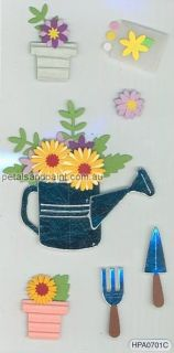 Embellishment & Card Making Stickers Gardening,Tool s,Flower Pot 101