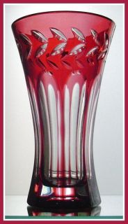 CRANBERRY RED PINK Vase CUT TO CLEAR CRYSTAL Bavaria Germany WMF