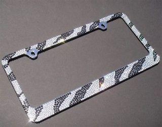 /Blk ZEBRA Designed (C Type of Screw Cap) Crystal License Plate Frame