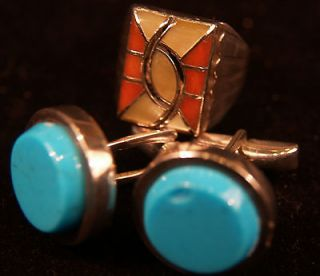 SILVER LOT OF 32 GRAMS MENS NATIVE AMERICAN JEWELRY, Cufflinks & Ring