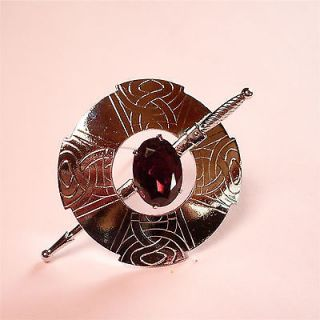 SCOTTISH CELTIC AMETHYST RHINESTONE SHIELD/SWORD BROOCH (Mizpah/large)