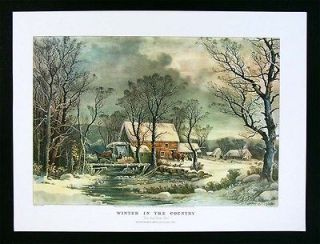 Currier & Ives Print   Winter in the Country   Old Grist Mill