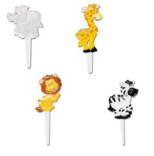 Jungle Zoo Animal Cupcake Picks Topper Decoration Baby Shower