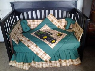 Custom made JOHN DEERE Brown Plaid Crib Bedding Set
