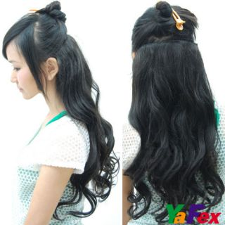 One Piece long curl/curly/wav y hair extension clip on 3 Color Cheap