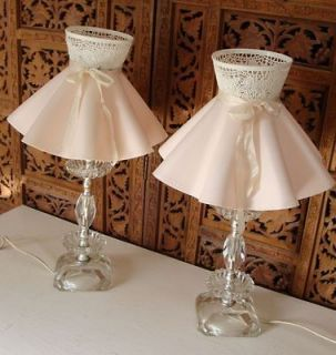 Vintage 1950s 2 Matching Crystal Boudoir Lamps with Fancy Plastic