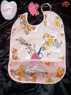 ADULT BABY PLASTIC DRESS UP  NECK CRUMB POCKET BIBS FOR DIAPER