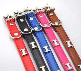 colors choice Cute BONE Leather collars 24CM~31CM Pet dog Product