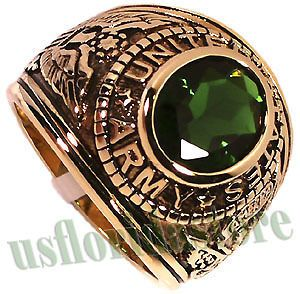 Emerald Green US Army Military 18kt Gold Plated Ring