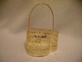 BASKET SILVERTONE FILIGREE HEART BASKET w/ HANDLE
