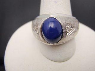 Estate Mens 14k White Gold Blue Oval Star Sapphire Ring # 209