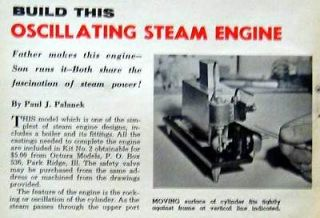 Oscillating Steam Engine & Boiler How To build PLANS