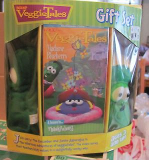 Veggie Tales Madame Blueberry Gift Set VHS Larry Junior MINT IN SEALED