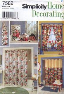 Sewing Pattern Bathroom Shower Tab Top Curtain Window Treatments