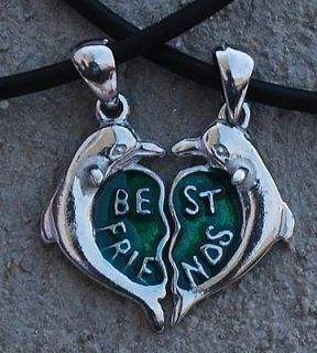 Best Friend Dolphin Heart Pewter Pendant w 2 necklace